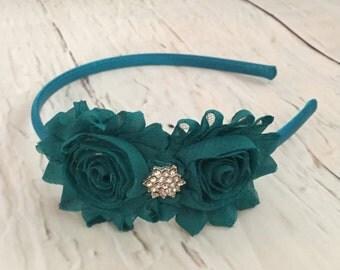 Teal Shabby Chic Headband, Turquoise Flower Headband, Thanksgiving Accessories, Vintage Headband, Girl Headband, Adult Headband, Birthday He