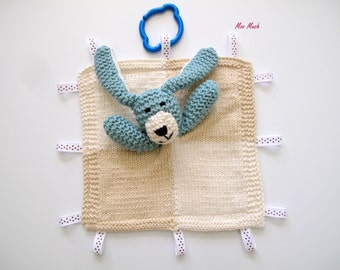 Hand knitted Organic Cotton/Bamboo  Puppy Comfort/Security Taggie Blanket - Ready to Ship!