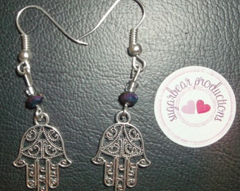 Silver Hasma, Hamsa Hand of God earrings with black crystals, french hooks,made by sugarbearproductions
