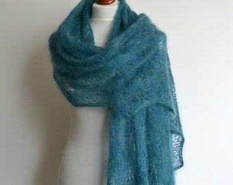 Lace shawl - Luxurious hand knitted sea green melange shawl - rectangular - mohair silk - handmade