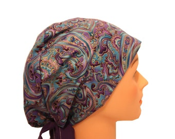 Scrub Hat Surgical Scrub Cap Chemo Vet Nurse Dr Hat Pixie European Style - Purple Blue Paisley - 2nd Item Ships FREE