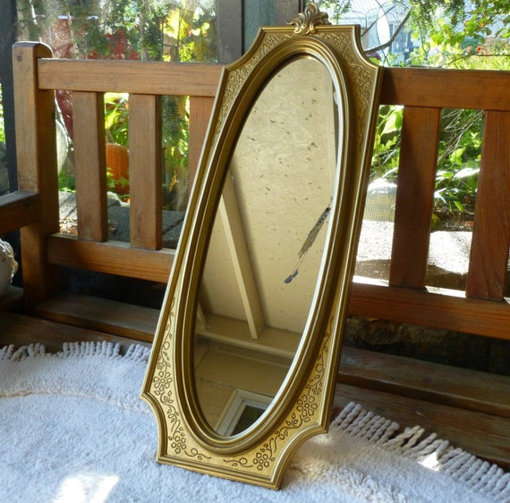 Syroco wall mirror usa gold long thin oval faux wood polymar for Long skinny wall mirrors