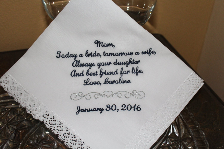 Wedding Gift For Mother: Wedding Gift For Mother Of The Bride Hankerchief Wedding