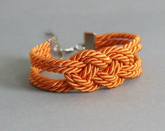 Orange Knot Bracelet Nautical Knot Bracelet Knotted Jewelry Knot Rope Jewerly Orange Cord Bracelet Rope Bracelet Knot Bracelet Nautical Knot