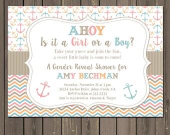 Gender Reveal Invitation, Anchor Gender Reveal Party, Nautical Gender Reveal Baby Shower Invitation, Pink or Blue