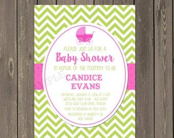 Stroller Baby Shower Invitation, Preppy Hot Pink and Green Chevron Baby Shower Invitation, Baby Buggy Shower Invite, Baby Carriage shower