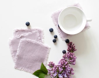 Set of 4 Pink Lavender Stone Washed Linen Coasters with Fringes