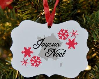 France Merry Christmas Ornament, French, Joyeux Noel