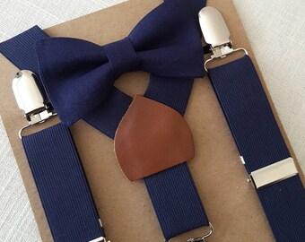 PRE-ORDER (2 WEEKS) Newborn Bow Tie and Suspenders, Toddler Bow Tie and Suspenders, Navy Boys Bow Tie, Navy Suspenders, Mens Suspenders