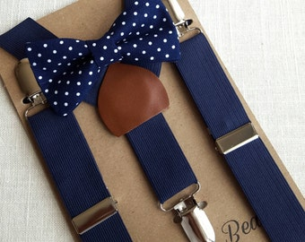 FREE U.S SHIPPING...Newborn Bow Tie and Suspenders, Toddler Bow Tie and Suspenders, Navy Boys Bow Tie, Navy Boys Suspenders, Ring Bearer