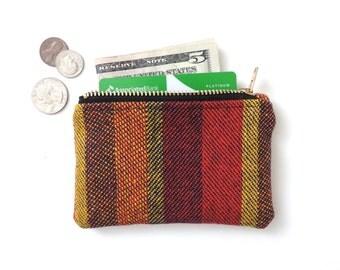 Stripe Coin Purse Wallet Zipper Pouch Wool