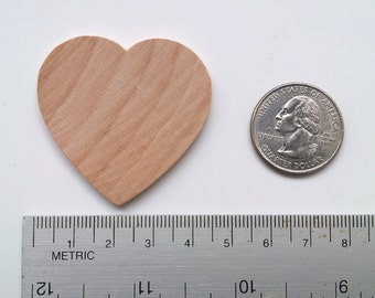 50 Wooden Hearts / 1-3/4 inch x 1/8 thick / 1.75 Inch / Unfinished / Wedding Guest Book / Wedding Favors