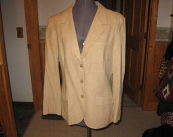 Vtg Pendeton Tan 3 button wool lined blazer old school USA preppy Classic blazer sz 16 free ship