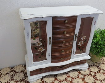 Vintage Extra Large Wood Jewelry Box Shabby Chic.