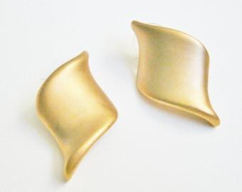 Fashion Designer Gold Pierced Earrings Brushed Goldtone Post Earrings Pierced Ears Vintage Classic 1980's Fashion Jewelry Earrings
