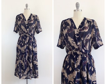 70s Navy Blue and Brown Leaf Print Wrap Dress / 1970s Vintage Abstract Print Semi Sheer Day Dress / Medium / Size 8