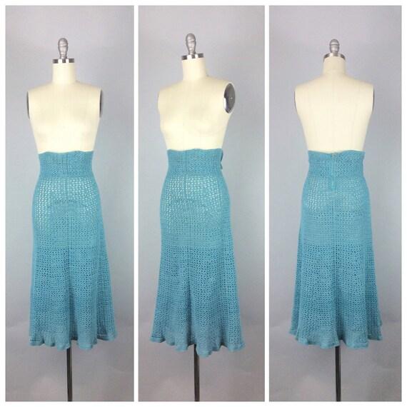 40s light blue knit sweater skirt 1940s vintage skirt