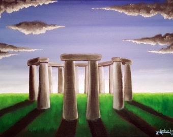 Stonehenge Painting//Oil Paintings//Paintings//The Henge//9x12//