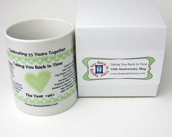 Pre-Made 1961 Anniversary Message Mug - Celebrating 55 Years Together