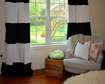 Custom Black and White Striped Curtains, Stripes, Color Blocked, Nursery Curtains, Striped Home Decor, Black Striped Curtains, Black Striped