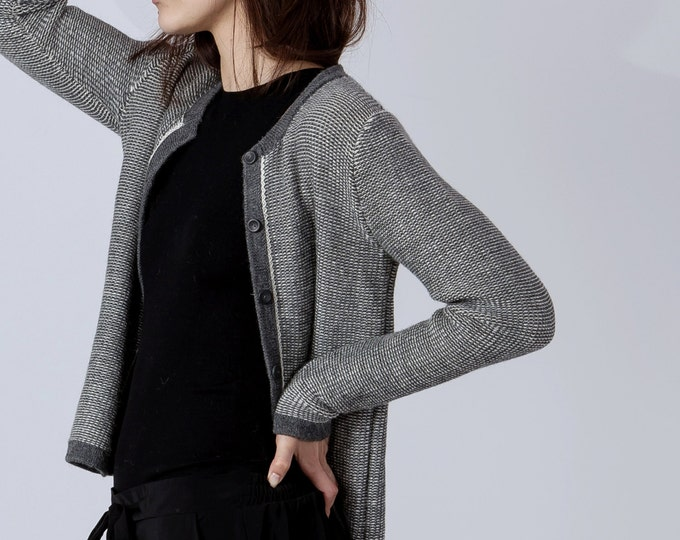 Patterned woman cardigan / alpaca cardigan / woman wool sweater / woman knitted jacket / wool jacket gray black navy blue alpaca cardigan