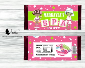 Spa Day Candy Wrappers, Spa Party Candy Wrappers, Spa Birthday Party - Digital File