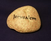 Jerusalem River Rock Stone Pebble Holy Land Israel Hebrew Art Work Judaic Judaica Jewish One