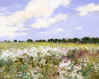 Landscape print wildflowers, field impressionism, paper, art, scenic pictures, green, white, blue, country scene, flowers, from painting