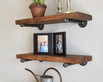 "Set of 3 - 10"" deep Floating shelves combo, Wood Industrial Pipe Shelves, Rustic Wall Shelves, Pipe Brackets Open Shelving"