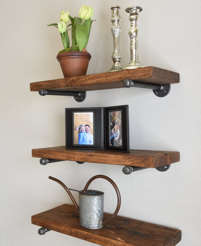 Set Of 3 10 Deep Floating Shelves Combo Wood