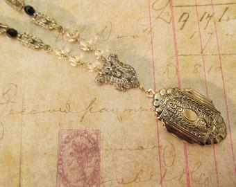 Art Deco Locket Assemblage Necklace Repurposed Vintage