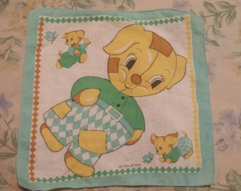 Vintage All Cotton Child's Handkerchief. Patchwork dog is pattern.