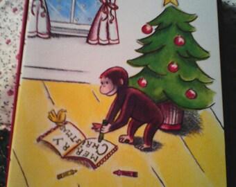 12 Vintage Curious George Christmas Cards, 13 envelopes.