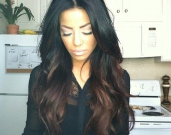 Remy Human Hair Natural Black into Chocolate Brown Ombre U Part Wig