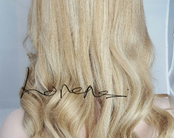 Clip in  Human Hair Extensions #613 blonde and Medium Golden Blonde Mix