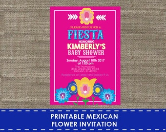 Mexican Flower Invitation - Printable - DIY