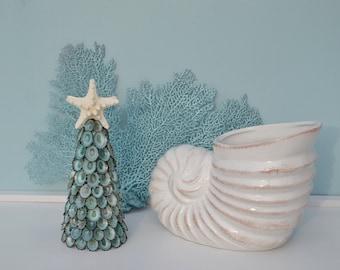 Christmas Beach Decor, Coastal Christmas Decor, Seashell Christmas Tree, Nautical Decor, Green Limpet Christmas Tree