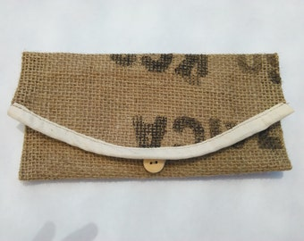 Up-Cycled Burlap Coffee Bag Wallet