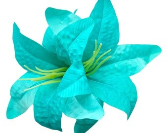 10% off with the code BDAY10  Oversized Turquoise Double Lily Hair Flower Pin Up Rockabilly