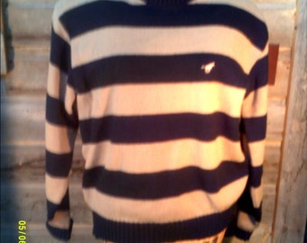 Womens Vintage Striped Sweater, size XL, Made in the USA by Wrangler, Womens Sweaters XL, Womens Cotton Sweater, Womans Crew Neck