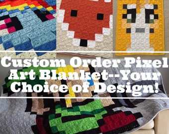 "MADE TO ORDER 60"" Square Custom Made Crochet 8-Bit Pixel Art Afghan Throw Blanket-Your Choice of Design"