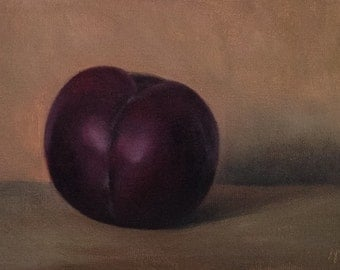 "Still life painting: Plum 6x4"" , oil painting"