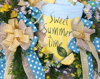 Whimsical Lemonade Blue and Yellow Mesh Spring and Summer Wreath