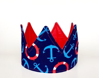 Nautical birthday crown - 1st birthday crown - boy birthday - No felt - dress up