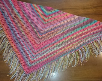 Crocheted multicolour granny style shawl with fringes