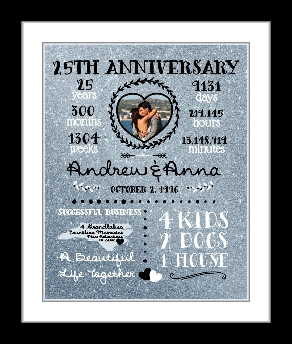 25 Year Anniversary Gift Silver Wedding Anniversary Gift For