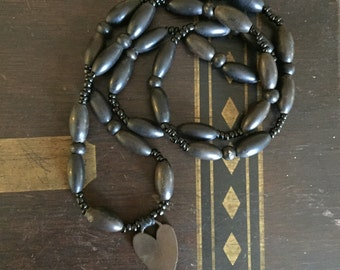 Mourning Necklace Vulcanite Heart Wood Beads