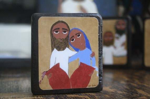 2.5 ish X 3.5 ish inch Wedding at Cana byzantine/folk icon on wood