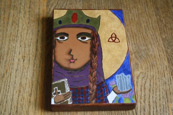 "4"" X 6"" Saint Margaret of Scotland Byzantine Folk style icon on wood by DL Sayles"