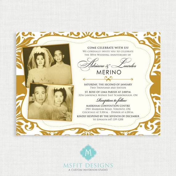 50th Wedding Anniversary Invitation - Gold Demask - 50th Anniversary